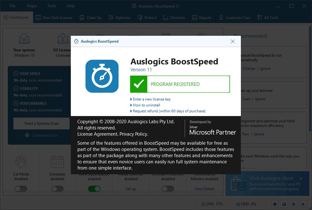 Key for Auslogics BoostSpeed 11.5 2020 New Version